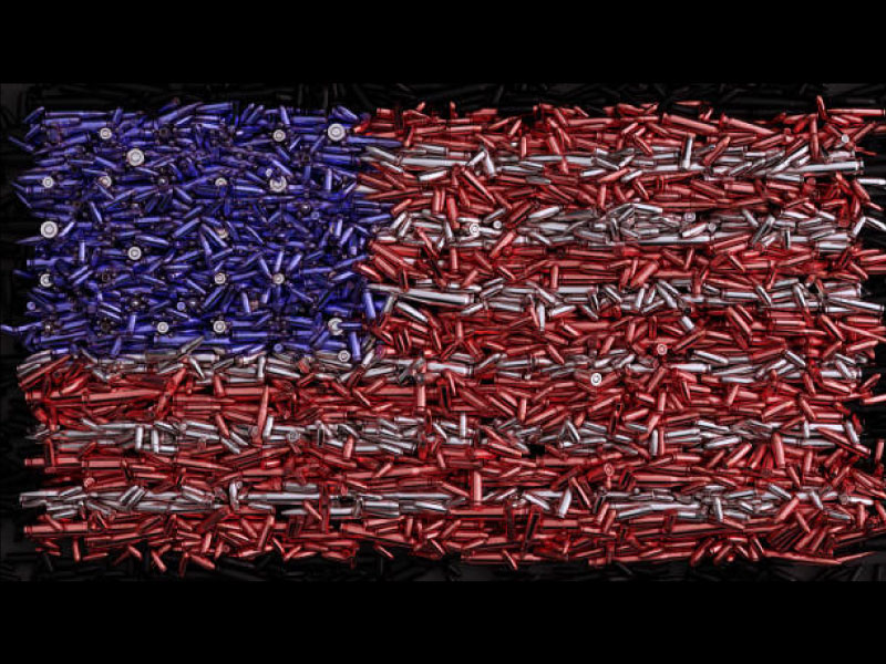 Flag made from ammunition