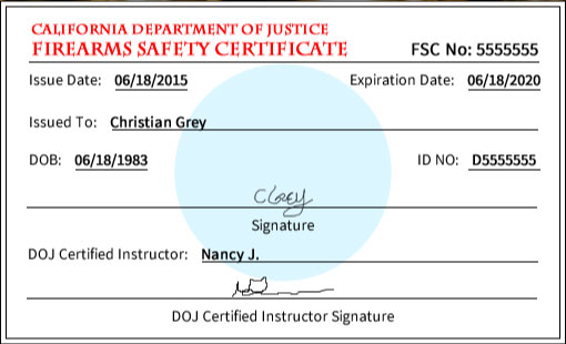 Sample California Firearms Safety Certificate
